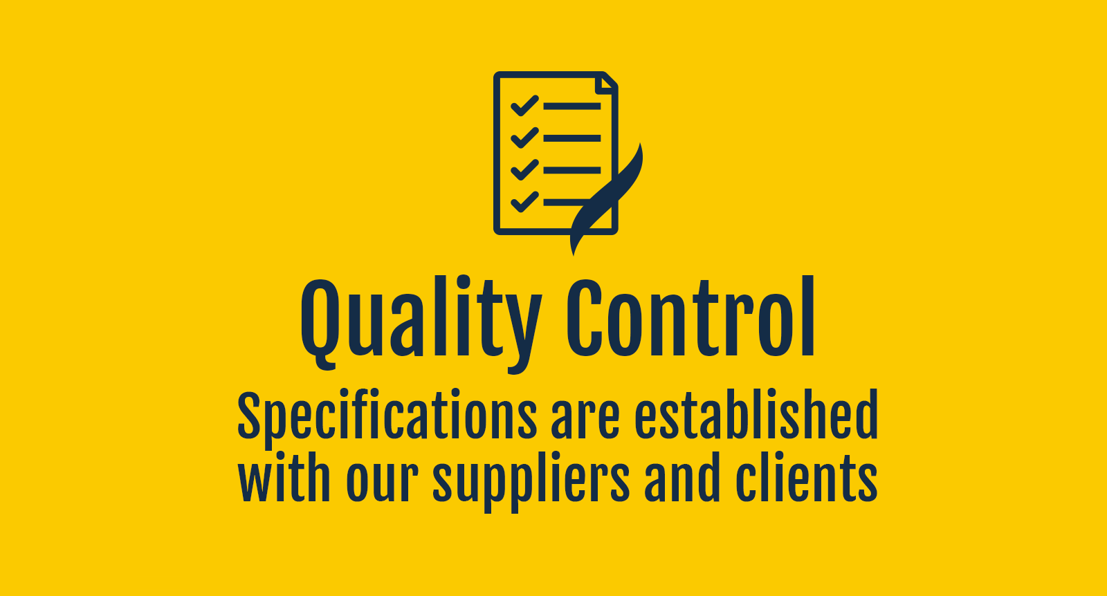 exofood quality control specifications are established with our suppliers and clients